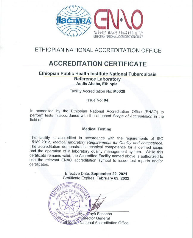 Four TB Laboratory Test Scopes have been Accredited